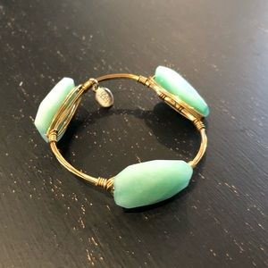 Green Stone and Gold Wire Bangle.